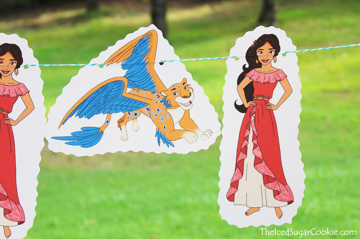 DIY Elena Of Avalor Birthday Party Banner Idea  Make your own DIY Elena of Avalor birthday party banner with some yarn and some clipart images online. You can find these images at DisneyClips.com  I just printed two pictures of Avalor and two pictures of Skylar off on white card stock. I used a hole punch and put two holes in each picture and ran some raffia paper string ribbon through it.   This is a simple idea for a birthday banner for those on a budget.