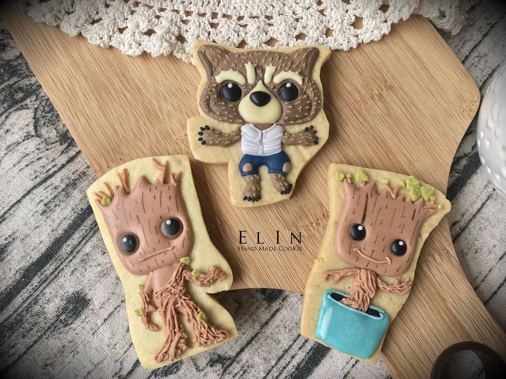Guardians Of The Galaxy Sugar Cookies-Baby Groot and Rocket Raccoon TheIcedSugarCookie.com Elin's Cookies