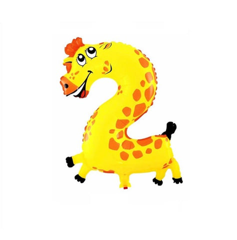 Giraffe birthday party balloon number two 2. Great for safari birthday party or as Melman for a Madagascar birthday party.