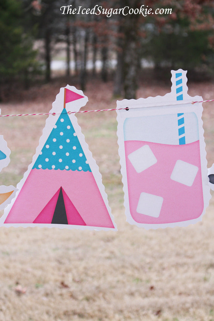 Glamping Glam Camping Birthday Party DIY Idea-Moose Roasting Marshmallows, Campfire, Tent, Lemonade, www.TheIcedSugarCookie.com