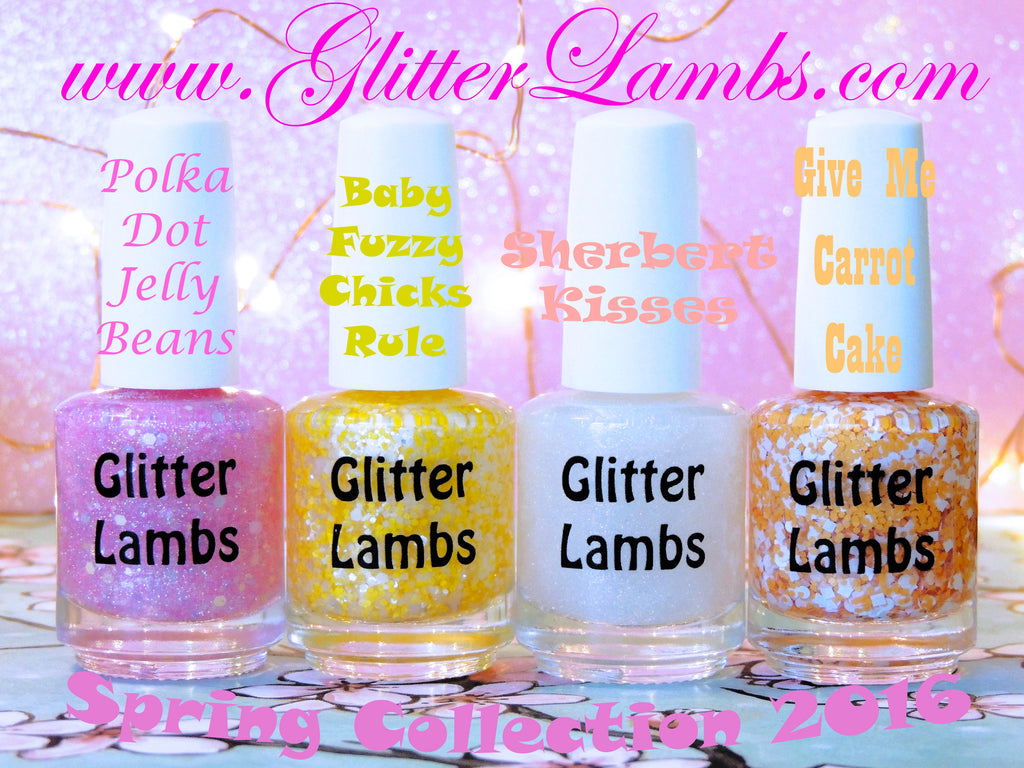 Polka Dot Jelly Beans Glitter Lambs Nail Polish. wwwTheIcedSugarCookie.com Pink Glitter Topper Indie Custom Handmade nail polishes for your nails. Baby Fuzzy Chicks Rule, yellow polish, Sherbert Kisses, Give Me Carrot Cake, Orange and white glitter mix.