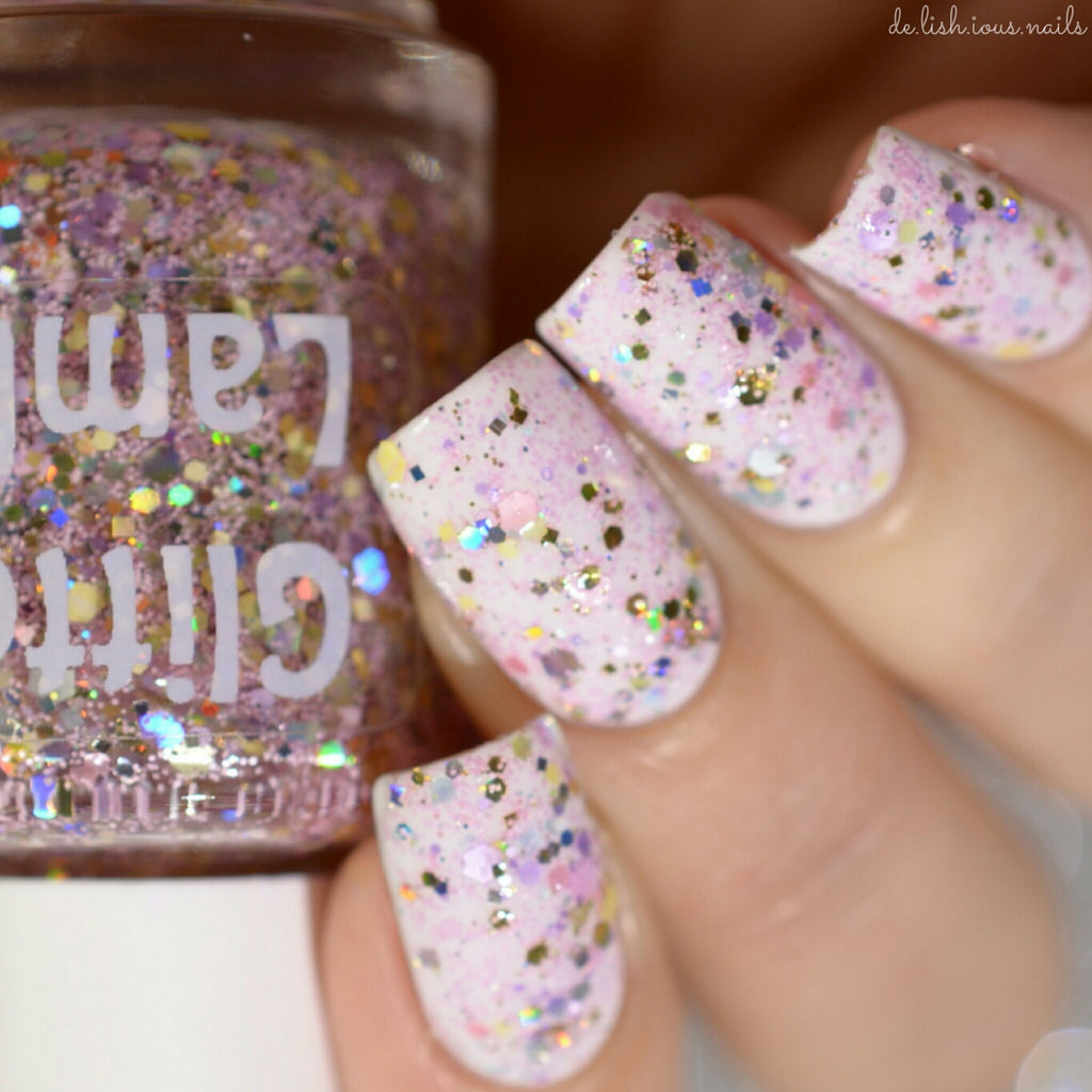 "Glitter Lambs ""Cotton Candy King"" Nail Polish Handmade Custom Pink Gold Nails. www.TheIcedSugarCookie.com-Worn by @de.lish.ious.nails"