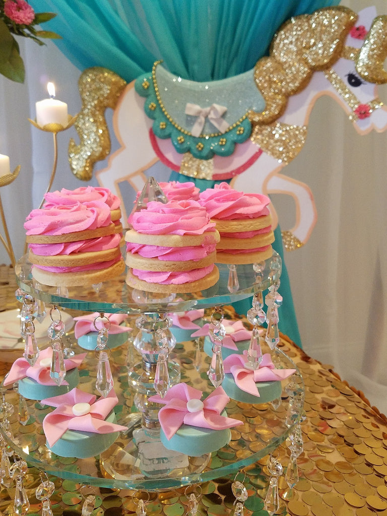 Gold Glitter Carousel Horse Baby Shower Theme The Iced Sugar Cookie