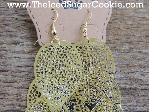Gold And Silver Leaf Earrings Boho Bohemian Hipster Tribal The Iced Sugar Cookie Jewelry Store Girls Women