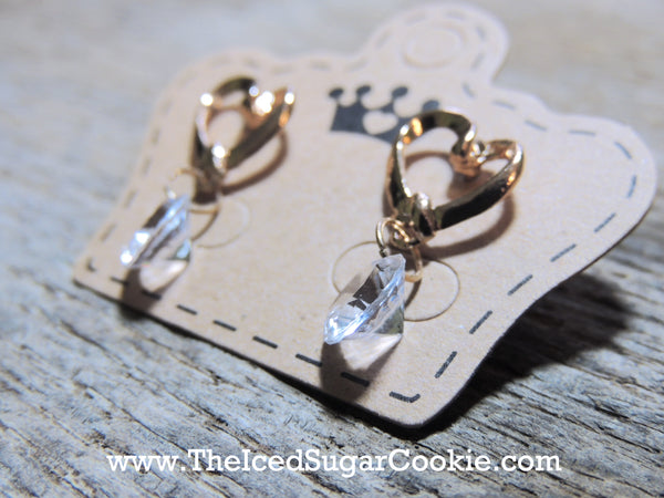 Golden Sweet Heart Faux Diamond Earrings The Iced Sugar Cookie Jewelry Cute Fashion Style