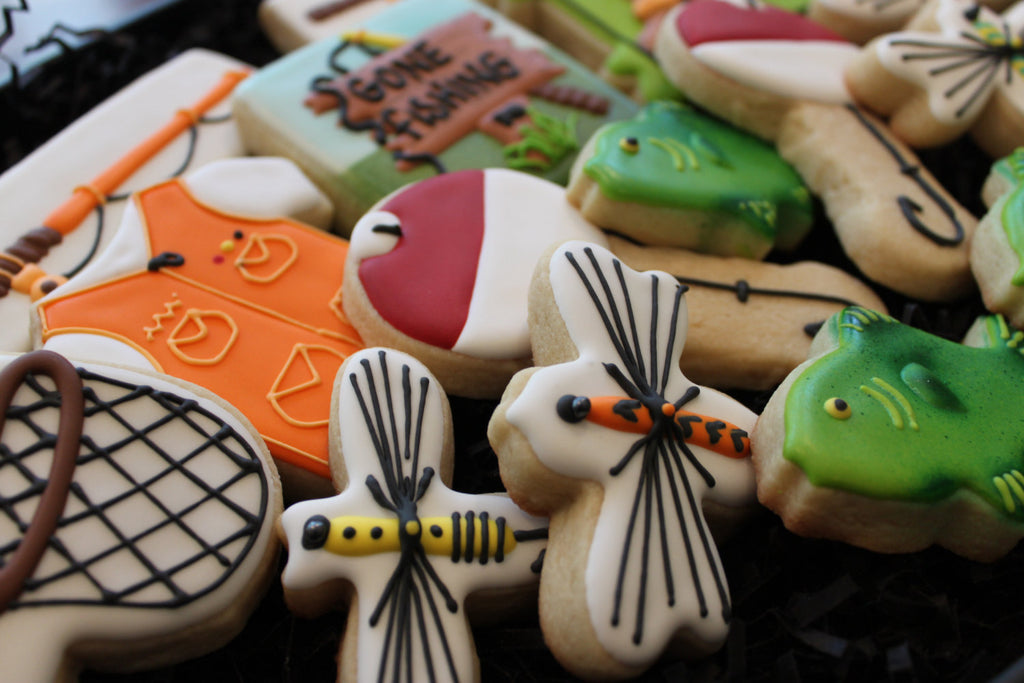 Gone Fishing Birthday Party Sugar Cookies TheIcedSugarCookie.com 4 The Love Of Cookies