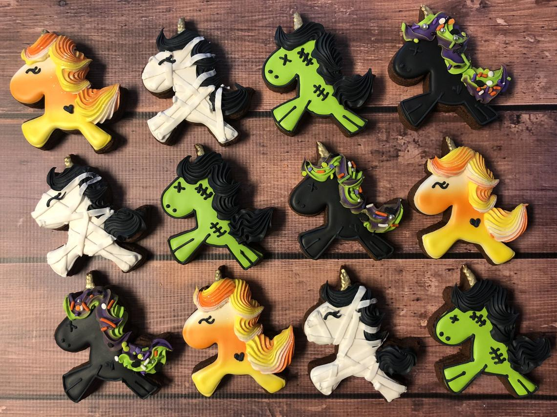 Halloween Unicorn Iced Sugar Cookies by Pretty Baked Bakery on TheIcedSugarCookie.com