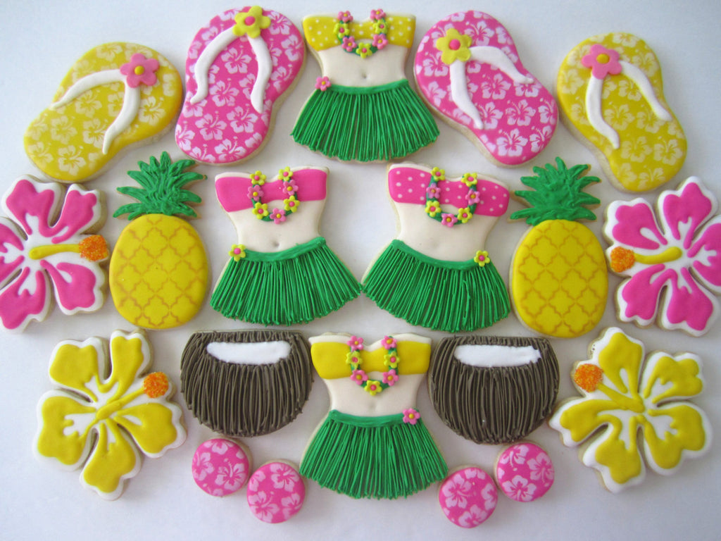 Hawaiian Luau Birthday Party Cookies-Pineapples, Coconuts, Flip Flops, Hula Girls, Hibiscus Flowers TheIcedSugarCookie.com Finger Hut Cakes