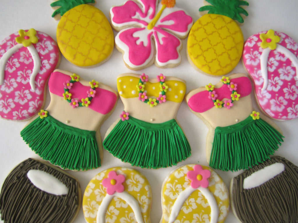 Phenomenal Hawaiian Luau Birthday Party Cookies Pineapples Coconuts Flip Funny Birthday Cards Online Elaedamsfinfo