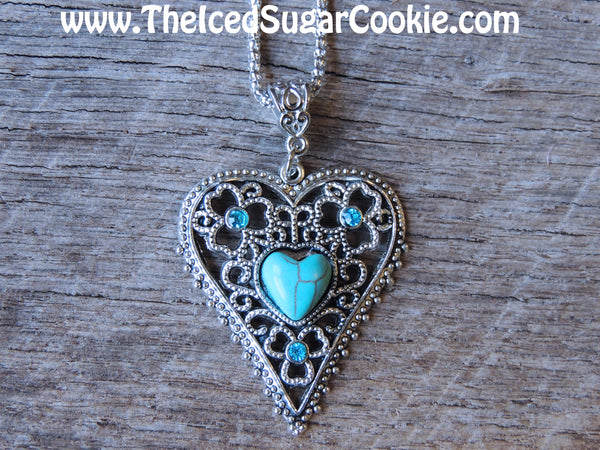 Heart Faux Turquoise Necklace Trendy Fashion Jewelry The Iced Sugar Cookie Hippy Hipster Boho Chic Bohemian Indian Cheap 5 dollar
