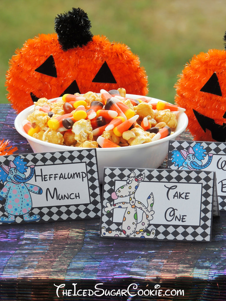 Heffalumps And Woozles Food Label Tent Cards-DIY Halloween Trick Or Treat Birthday Party Ideas-Printable Template Digital Download