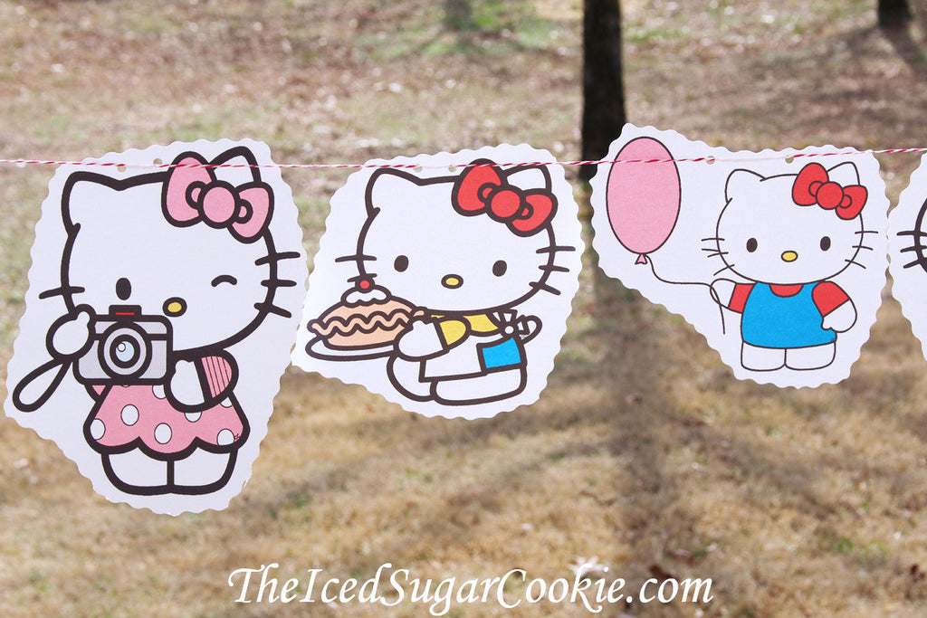 Hello Kitty Birthday Party DIY Idea Flag Bunting Banner Garland The Iced Sugar Cookie-www.TheIcedSugarCookie.com