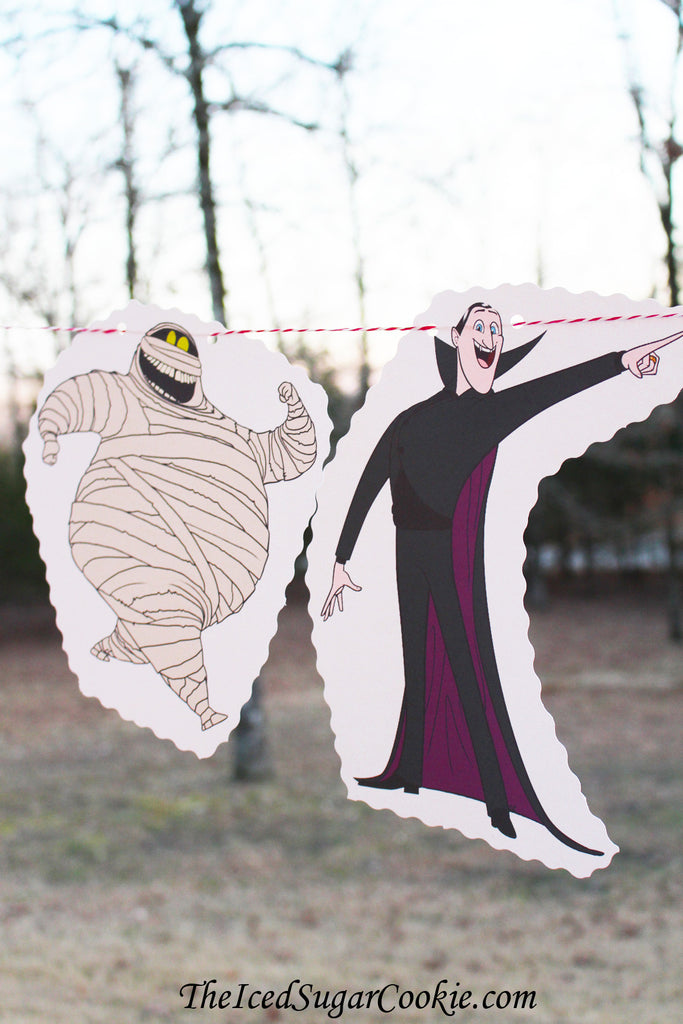 Hotel Transylvania Birthday Party Garland Banner Flag Bunting-Mavis Dracula, Dracula, Murray, Wayne, Frankenstein, Winnie Wolf Pup