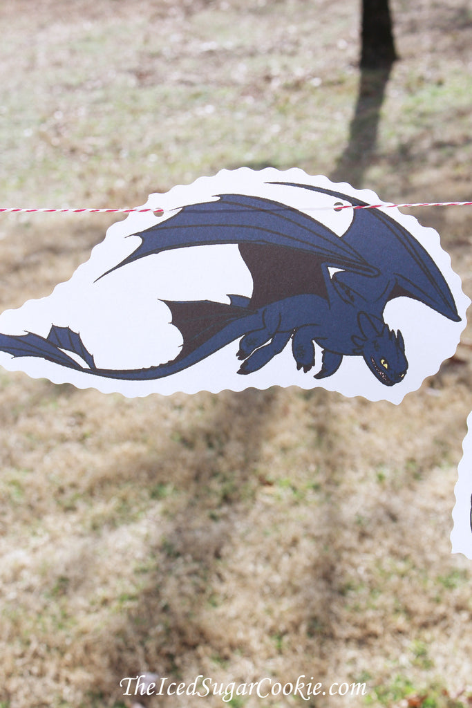 How To Train Your Dragon Birthday Party DIY Idea Flag Bunting Banner Garland-Toothless, Hiccup, Astrid, Ruffnut, Tuffnut, Gobber, Terrible Terror