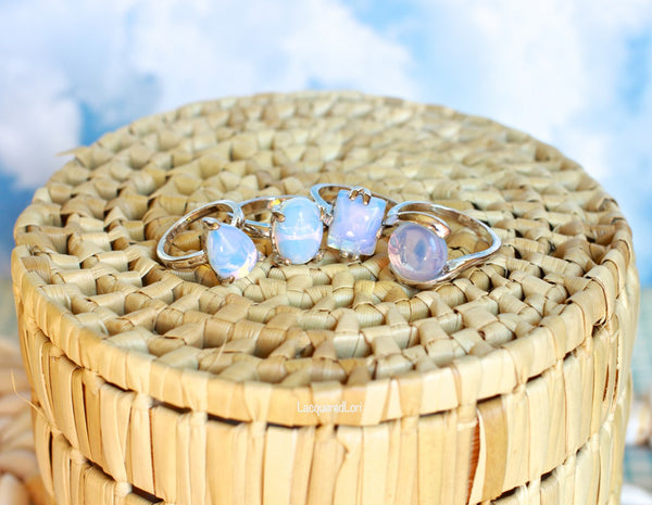 Unicorn Tears Rings Moonstone Opal Color Shifting Ring The Iced Sugar Cookie Jewelry Cheap Midi Knuckle Rings Boho Bohemian Tribal Hipster Hippy Coachella Photo by Lacquered Lori