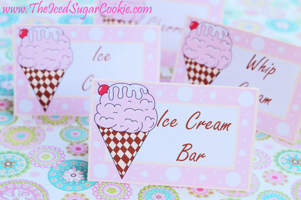 Ice Cream Birthday Party Free Printable Template Pattern Cutout Food Tent Cards by The Iced Sugar Cookie