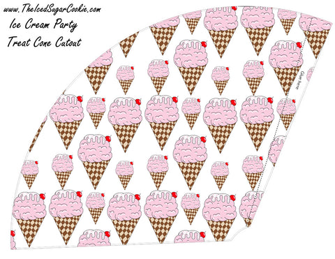Ice Cream Birthday Party Free Printable Template Pattern Cutout Cone Food Holder Birthday Hat by The Iced Sugar Cookie