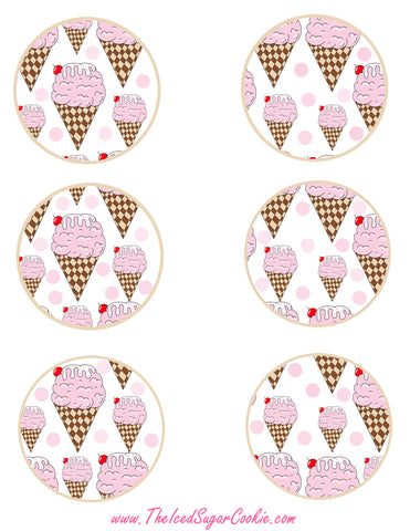 Ice Cream Birthday Party Free Printable Template Pattern Cutout Cupcake Toppers by The Iced Sugar Cookie
