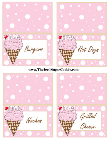 Ice Cream Birthday Party Free Printable Template Pattern Cutout Food Tent Cards by The Iced Sugar Cookie Burgers Hot Dogs Nachos Grilled Cheese