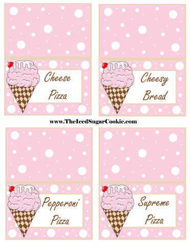 Ice Cream Birthday Party Free Printable Template Pattern Cutout Food Tent Cards by The Iced Sugar Cookie Cheese Pizza Cheesy Bread Pepperoni Pizza Supreme Pizza