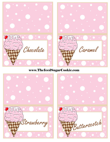 Ice Cream Birthday Party Free Printable Template Pattern Cutout Food Tent Cards by The Iced Sugar Cookie Chocolate Strawberry Caramel Butterscotch