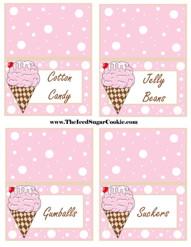Ice Cream Birthday Party Free Printable Template Pattern Cutout Food Tent Cards by The Iced Sugar Cookie Cotton Candy Jelly Beans Gumballs Suckers