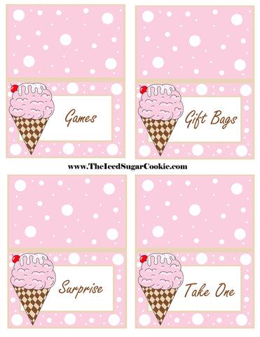 Ice Cream Birthday Party Free Printable Template Pattern Cutout Food Tent Cards by The Iced Sugar Cookie Games Gift Bags Surprise Take One
