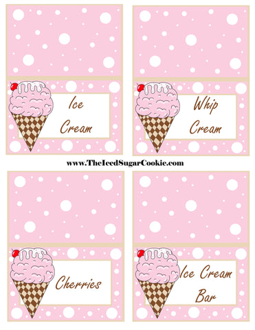 Ice Cream Birthday Party Free Printable Template Pattern Cutout Food Tent Cards by The Iced Sugar Cookie Ice Cream Whip Cream Cherries Ice Cream Bar