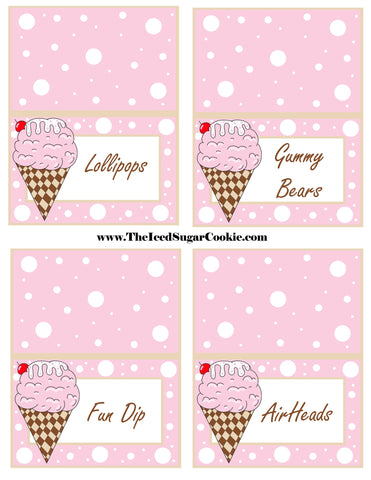 Ice Cream Birthday Party Free Printable Template Pattern Cutout Food Tent Cards by The Iced Sugar Cookie Lollipops Gummy Bears Fun Dip Airheads