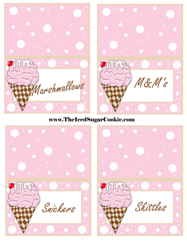 Ice Cream Birthday Party Free Printable Template Pattern Cutout Food Tent Cards by The Iced Sugar Cookie Marshmallows M&M's Snickers Skittles