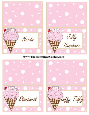 Ice Cream Birthday Party Free Printable Template Pattern Cutout Food Tent Cards by The Iced Sugar Cookie Nerds Jolly Ranchers Starburst Laffy Taffy