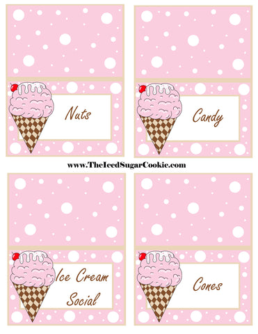 Ice Cream Birthday Party Free Printable Template Pattern Cutout Food Tent Cards by The Iced Sugar Cookie Nuts Candy Ice Cream Social Cones