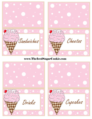 Ice Cream Birthday Party Free Printable Template Pattern Cutout Food Tent Cards by The Iced Sugar Cookie Sandwiches Cheetos Drinks Cupcakes