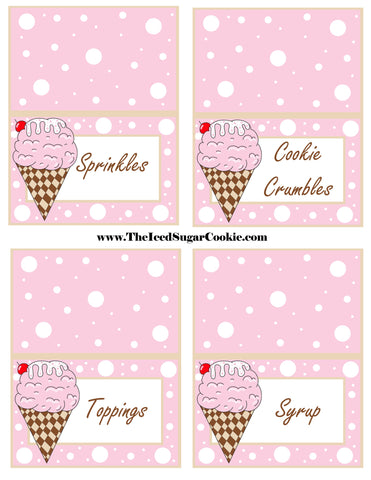 Ice Cream Birthday Party Free Printable Template Pattern Cutout Food Tent Cards by The Iced Sugar Cookie Sprinkles Cookie Crumbles Toppings Syrup