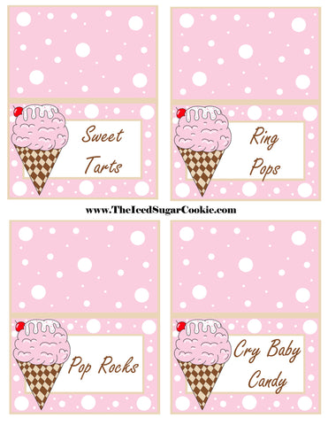 Ice Cream Birthday Party Free Printable Template Pattern Cutout Food Tent Cards by The Iced Sugar Cookie Sweet Tarts Ring Pops Pop Rocks Cry Baby Candy