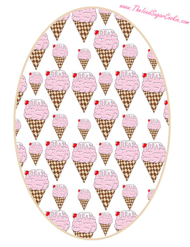 Ice Cream Birthday Party Free Printable Template Pattern Cutout Round Hanging Banner Garland Flag by The Iced Sugar Cookie