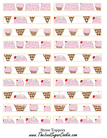 Ice Cream Birthday Party Free Printable Template Pattern Cutout Straw Toppers by The Iced Sugar Cookie