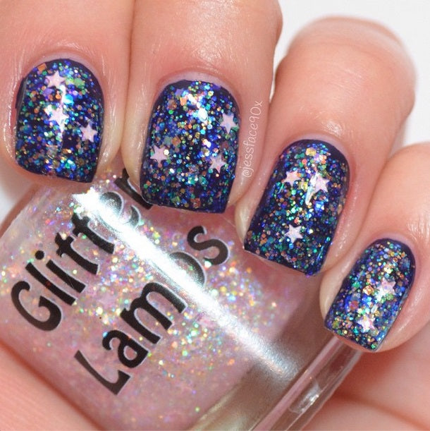 It's Snowing Cotton Candy Nail Polish Glitter Topper by Glitter Lambs-Christmas Holiday Pink Mini Glitter Stars with Iridescent Glitters