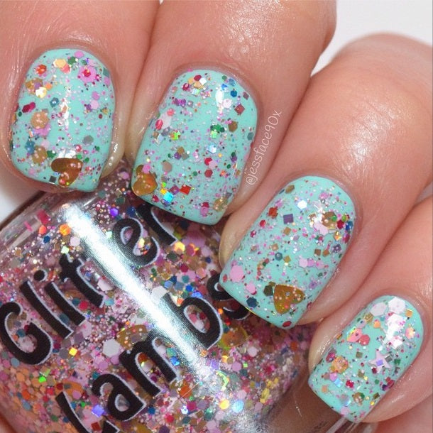 Pink Gingerbread House Nail Polish by Glitter Lambs. www.TheIcedSugarCookie.com Custom handmade nail polishes for your nails. Christmas holiday nail polish. #nails