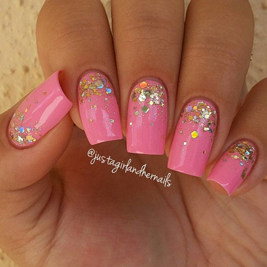 Million Dollar Gradient Nail Polish By Glitter Lambs. www.TheIcedSugarCookie.com Custom handmade gold glitter toppers for your nails. #nails