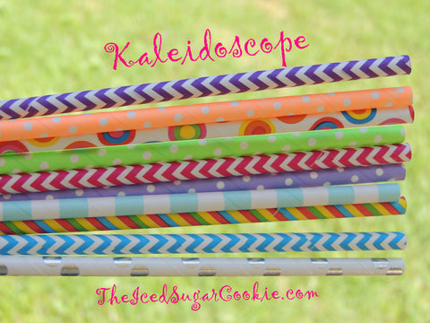 Package of 25 paper straws in our Kaleidoscope mix that consists of 10 different patterns.  Straw length is 7-3/4 inches.  Check out the rest of our paper straws we have available in our shop