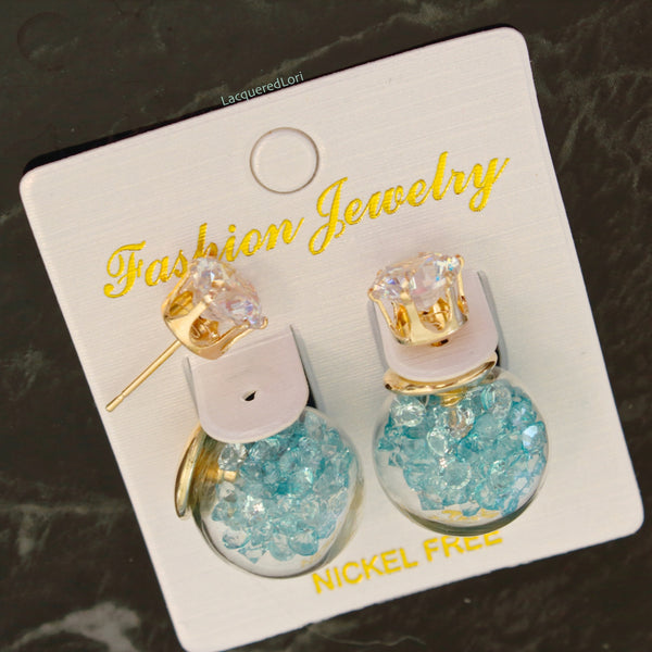 Crystal Glass Ball Filled Earrings By The Iced Sugar Cookie- Fashion Jewelry