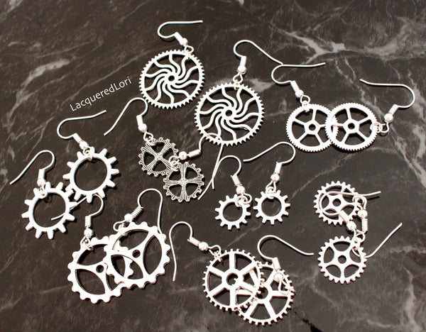 Steampunk Earrings Silver Jewelry By The Iced Sugar Cookie