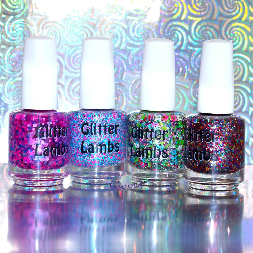 "Glitter Lambs ""Imagination Land"" Nail Polish. www.TheIcedSugarCookie.com Handmade custom glitter topper nail polishes for your nails. Blue and Pink Nails."