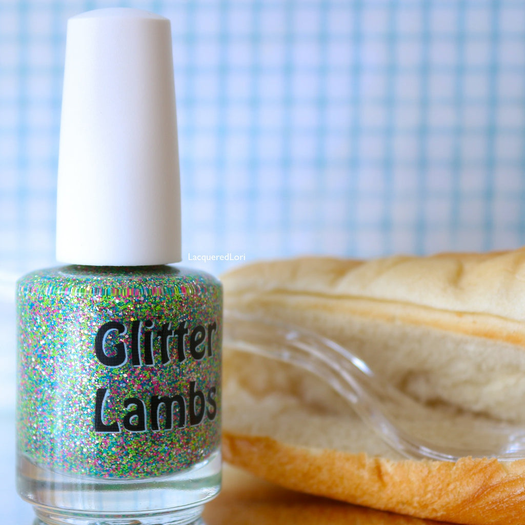 Glitter Lambs Ant Picnic Nail Polish. www.TheIcedSugarCookie.com Custom handmade nail polishes for your nails! #Nails