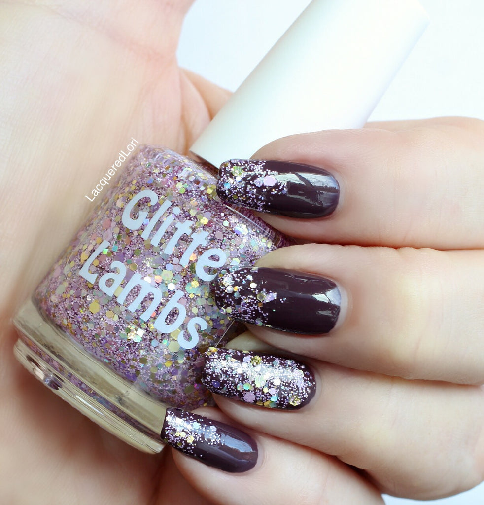 Cotton Candy King Glitter Lambs Nail Polish worn by Lacqueredlori