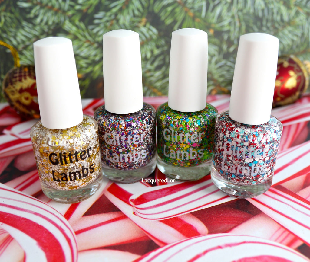 Rockin Around The Christmas Tree Nail Polish Christmas Holiday Glitter Topper Custom Handmade Glitter Lambs