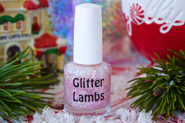 "Glitter Lambs ""It's Snowing Cotton Candy"" Nail Polish Handmade custom indie nail lacquer Christmas Holiday Pink Stars Iridescent Glitters"
