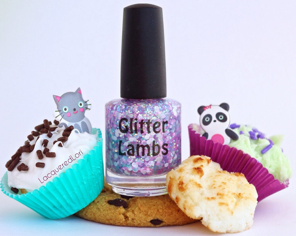 "Glitter Lambs ""Kawaii Bake Sale"" Glitter Topper Nail Polish. www.TheIcedSugarCookie.com Kawaii Nails. Custom handmade Kawaii nail polish."