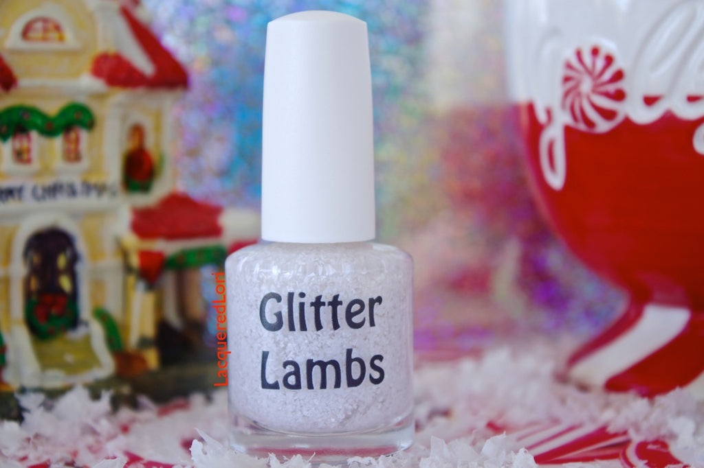 "Glitter Lambs ""Snow Storm"" glitter topper nail polish for your nails. www.TheIcedSugarCookie.com Custom handmade. White Glitter Nails. Christmas Holiday Nails."